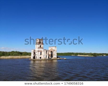 Сток-фото: здание · церкви · старые · моста · дома · крест · горные