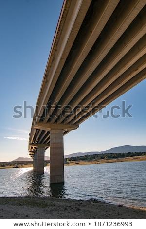 Puente colgante estilo río madera cable casas Foto stock © fanfo