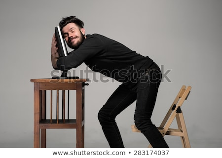Funny and crazy man using a computer Stock photo © master1305