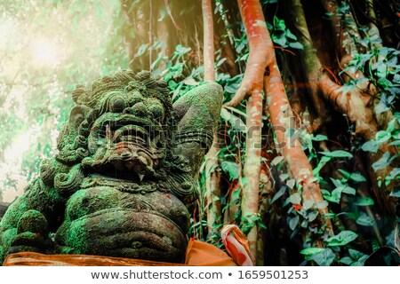 Templo guardião leão bronze estátua praça Foto stock © smithore
