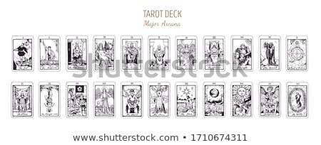 Tarot · Karten · halten · Rad · Karte · ein - stock foto © courtyardpix
