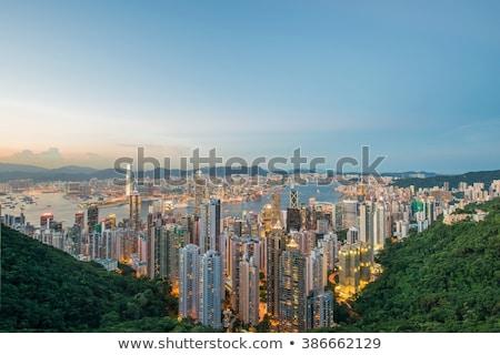 Foto stock: Ver · Hong · Kong · pôr · do · sol · céu · edifício · cidade