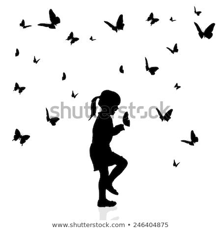 Foto stock: Beautiful · girl · silhueta · borboleta · mulher · primavera · mão