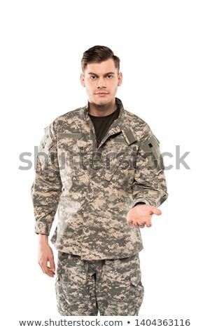 若い男 · 軍服 · 孤立した · 白 · 男 · 緑 - ストックフォト © elnur