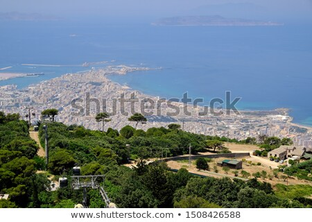 Landscape of Trapani city from the cableway of Erice. Sicily, Italy. Stock photo © Photooiasson