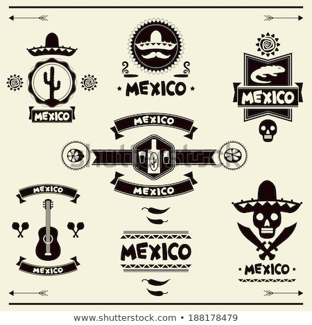 mexican set of labels and stickers with icons stock photo © netkov1