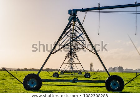 Automated farming irrigation system in sunset Stock photo © stevanovicigor