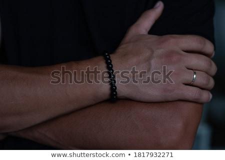 Vintage perles pierre bracelet isolé blanche Photo stock © Taigi