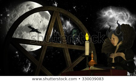 Witch reading Magic book with Candle light at Moon background with Pentacle and crows Stock photo © ankarb