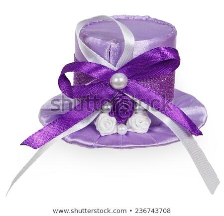 Fényes lila kalap szatén szalagok izolált Stock fotó © GeniusKp