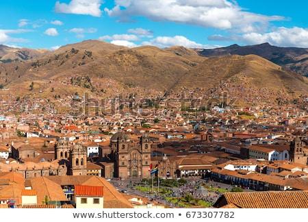 Peru sziluett kilátás régészeti összetett város Stock fotó © alexmillos