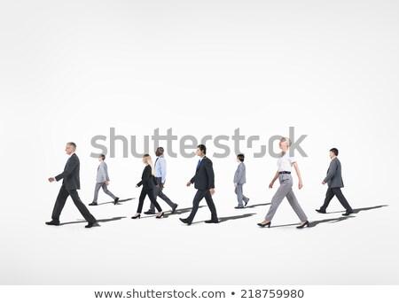 caminhada · mulher · de · negócios · feliz · sorridente · isolado · branco - foto stock © maridav