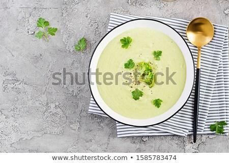 brokkoli · leves · tál · krémes · zöld · kanál - stock fotó © ozgur