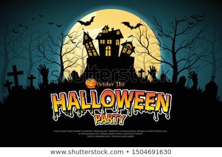 halloween · grave · cartaz · lua · feliz · atravessar - foto stock © beholdereye