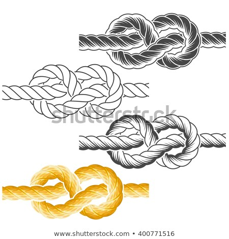 Stock photo: Rope knots in full-color, textured and contour drawings