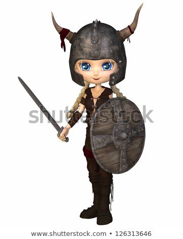 Blond woman Viking warrior with sword and shield Stock photo © ankarb