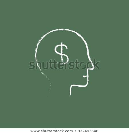 hoofd · dollar · symbool · schets · icon · web - stockfoto © rastudio
