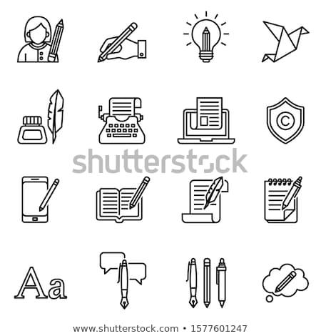 typewriter line icon stock photo © rastudio