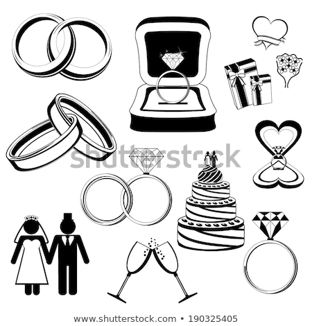 zwarte · vector · trouwringen · icon · stijl - stockfoto © pakete