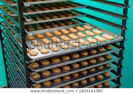 Foto stock: Produção · bolinhos · comida · fundo · bolo · pão