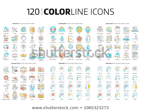 ecology blue fill icons set stock photo © conceptcafe