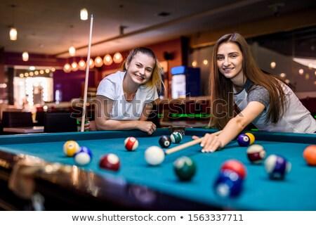 Güzel bir kadın oynama havuz fotoğraf bilardo masası Stok fotoğraf © sumners