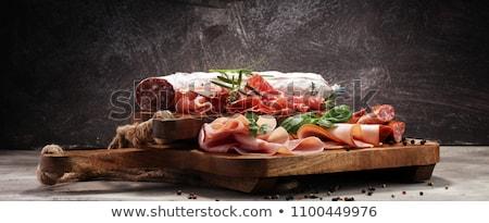 Stockfoto: Prosciutto · Italiaans · voedsel · plaat · vlees