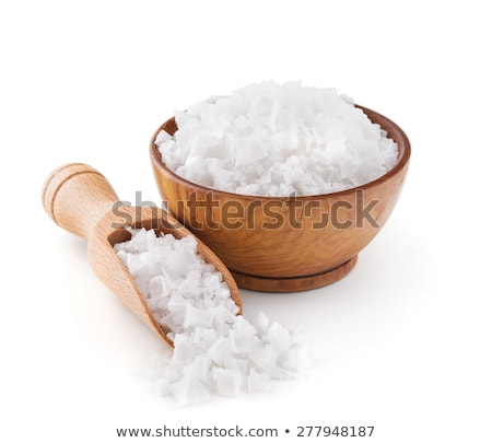 Stock photo: Sea salt in a  wooden bowl