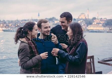 türk · genç · arkadaşlar · küpe · ceket · oturma - stok fotoğraf © lubavnel