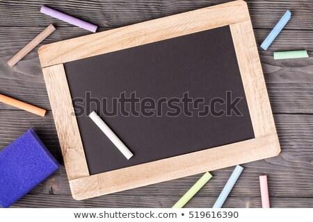 Iskolatábla lila szivacs fehér kréta fekete Stock fotó © viperfzk