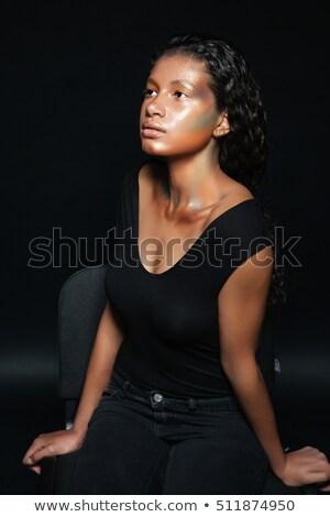 çekici · model · makyaj · poz · sandalye · güzel - stok fotoğraf © deandrobot