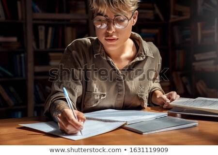 парень · изучения · библиотека · мужчины · сидят - Сток-фото © deandrobot