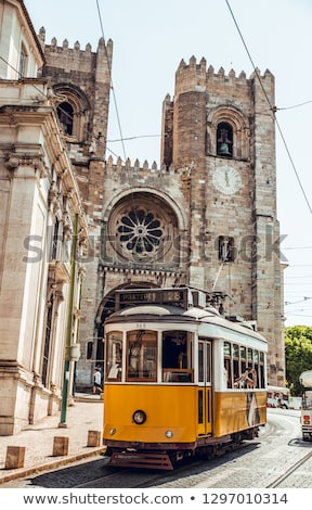 трамвай · узкий · улице · Лиссабон · желтый · район - Сток-фото © joyr
