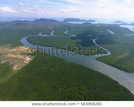 Stok fotoğraf: Aerial Photo Of Estuaries And Strait