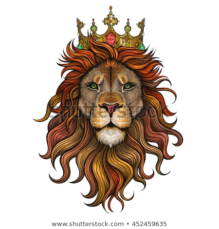 Lion king with crown vector Stock photo © krustovin