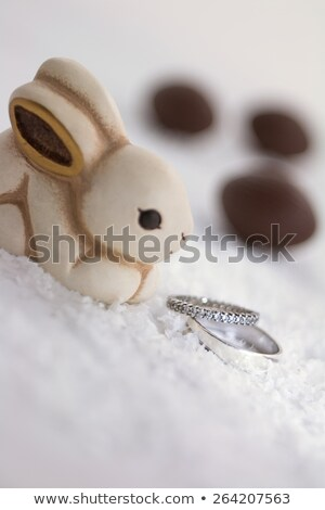 Chocolate egg and engagement ring Stock photo © magraphics