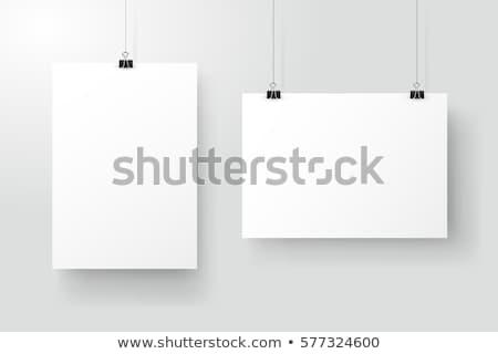 vector · opknoping · poster · witte · paperclip - stockfoto © tuulijumala