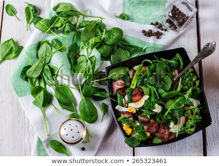 groene · salade · eieren · houten · tafel · voedsel · diner - stockfoto © user_10493298