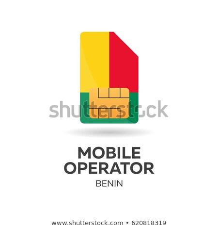 benin mobile operator sim card with flag vector illustration stock photo © leo_edition