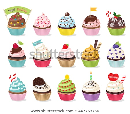 Strawberry cupcake vector illustration cartoon isolated on white Stock photo © NikoDzhi