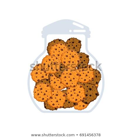 verre · jar · cookies · blanche · alimentaire · chocolat - photo stock © popaukropa