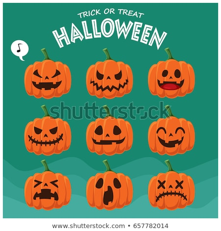 happy halloween card with jack o lanterns stock photo © bluering