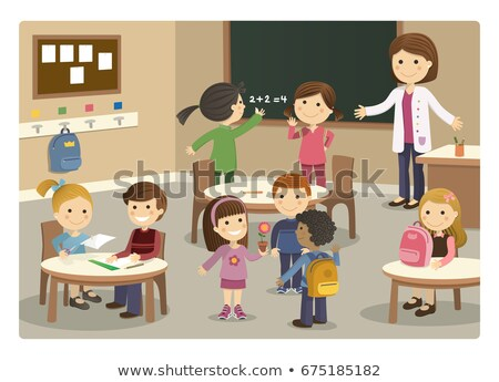 Schule Kinder Klassenzimmer Illustration Kind Hintergrund Stock foto © bluering