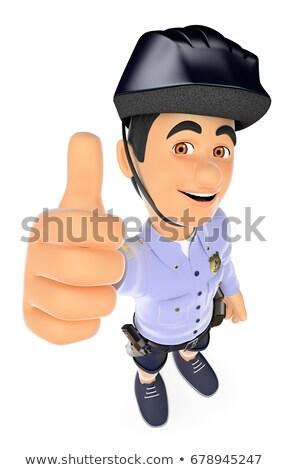 3D politie shorts duim omhoog veiligheid Stockfoto © texelart