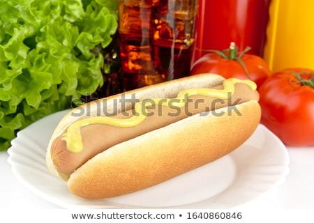 Stockfoto: Plaat · cola · witte · hot · honden