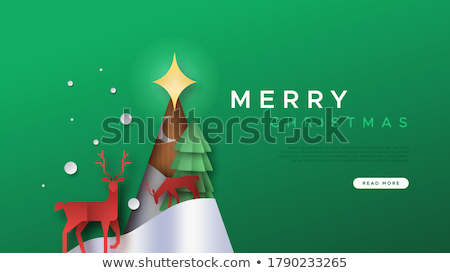 Christmas reindeer of origami Stock photo © brulove