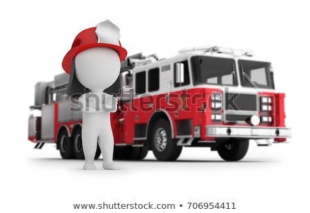 3d small people   fireman and fire truck stock photo © anatolym