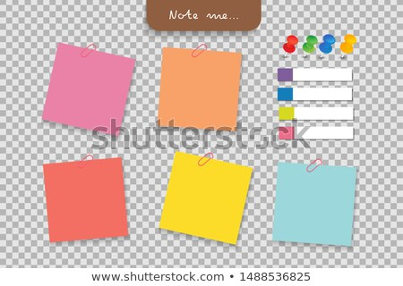 Set of paper stickers for notes and pushpin on transparent background Stock photo © orensila