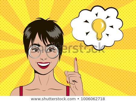 Beautiful woman with short hair, comic bubble Stock photo © studiostoks