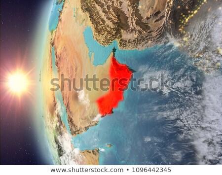 Оман пространстве сумерки красный City Lights орбита Сток-фото © Harlekino